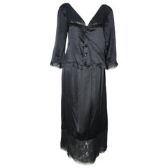 Chanel Black Silk 2 Piece Long Sleeve Top & Long Skirt Dress 42