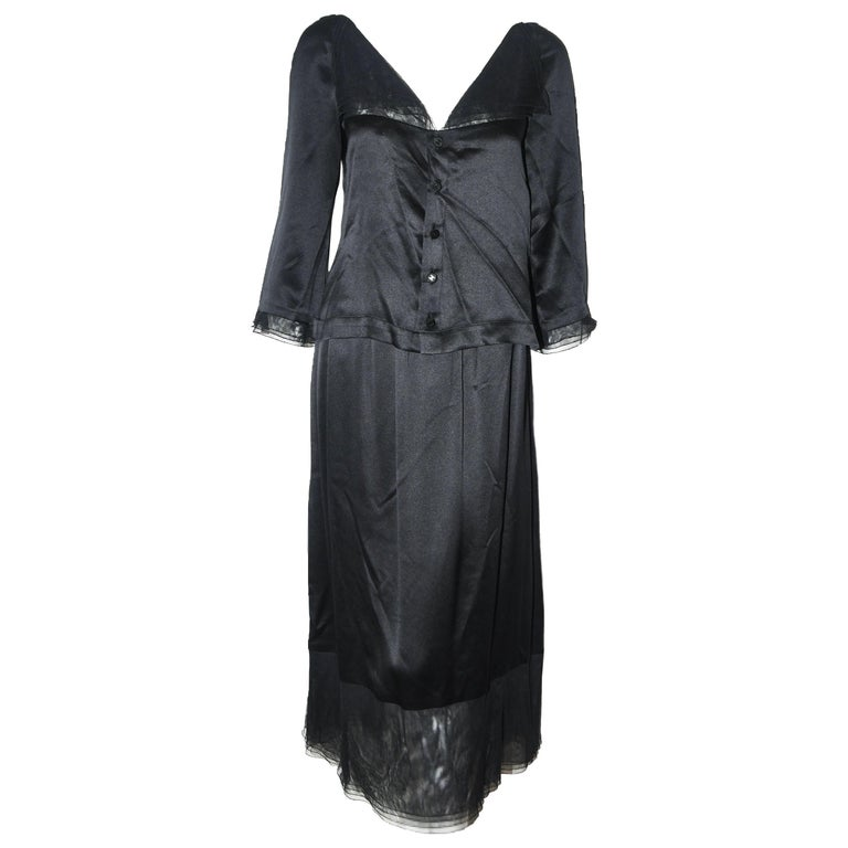 Chanel Black Silk 2 Piece Long Sleeve Top & Long Skirt Dress For Sale