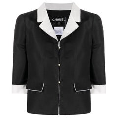 Chanel Black Silk and Faux Pearls Trimming Jacket