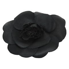 Chanel Black Silk Camellia Brooch