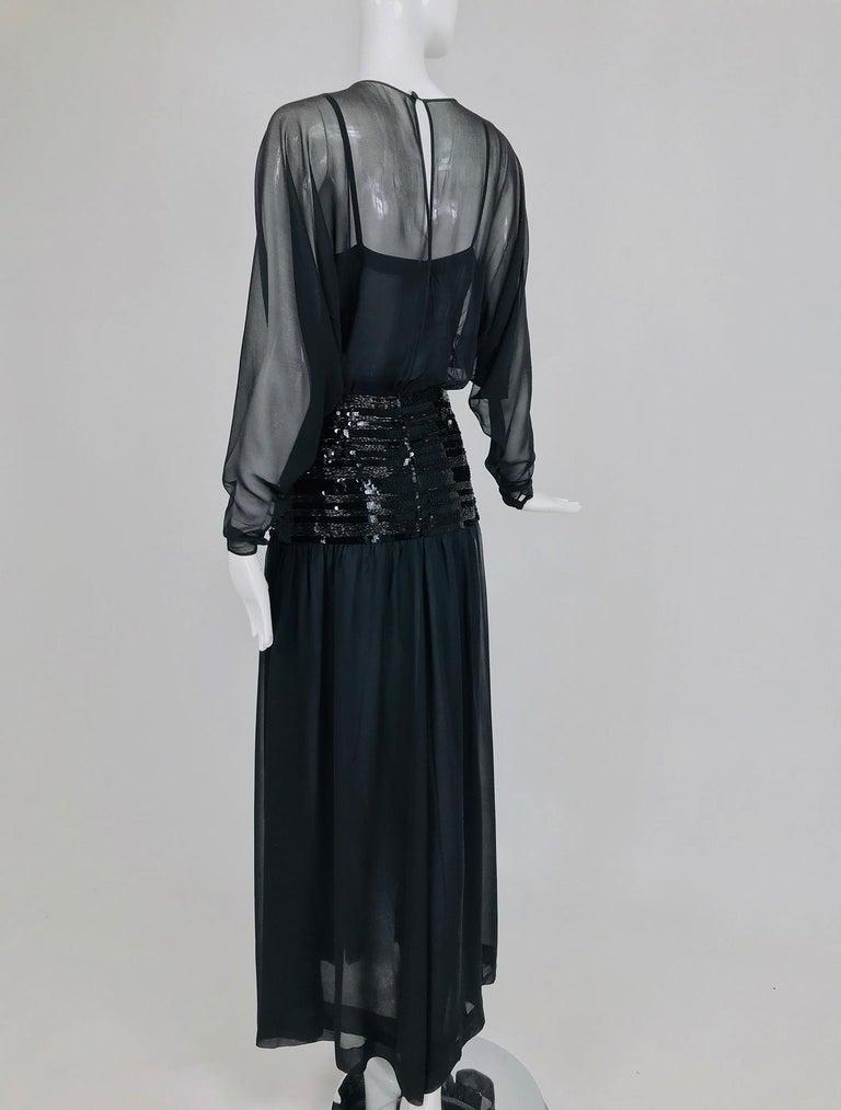 Chanel Black Silk Chiffon beaded Hip Dolman Sleeve Evening Gown 1980s For Sale 6