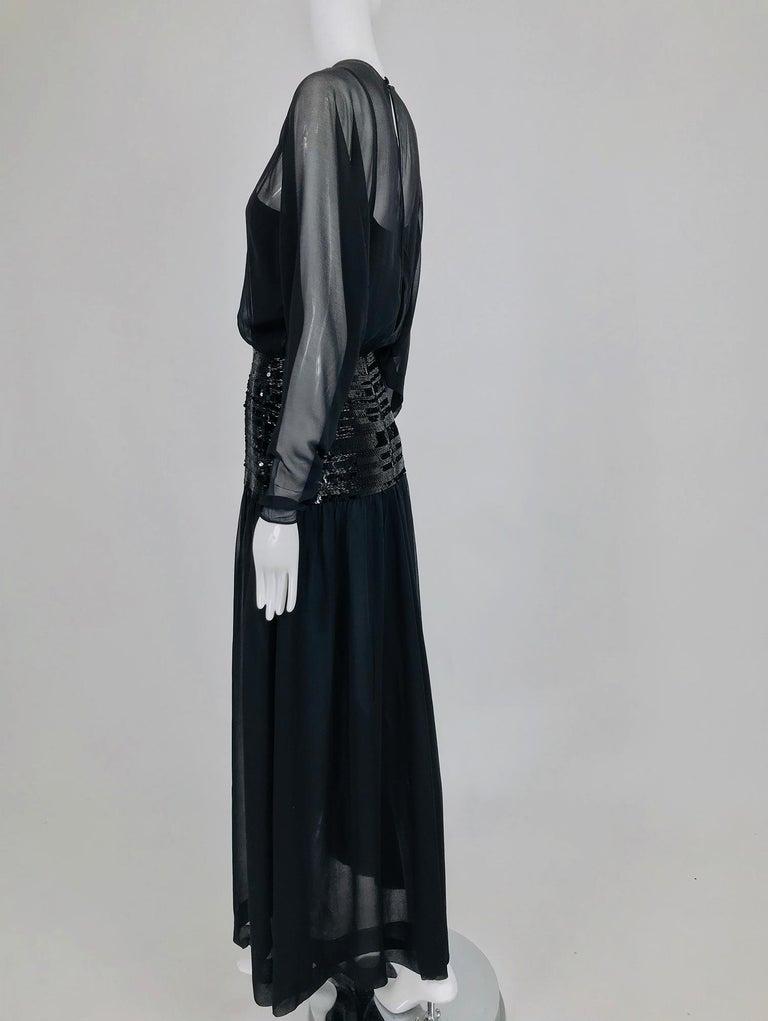 Chanel Black Silk Chiffon beaded Hip Dolman Sleeve Evening Gown 1980s For Sale 7
