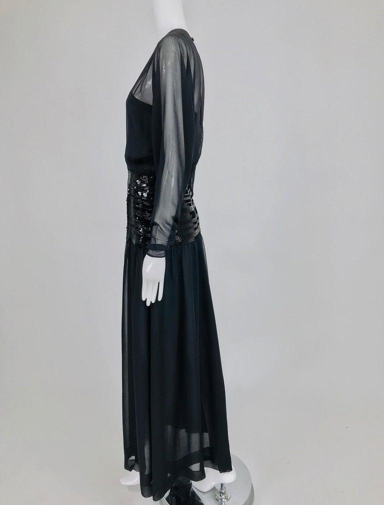 Chanel Black Silk Chiffon beaded Hip Dolman Sleeve Evening Gown 1980s For Sale 8