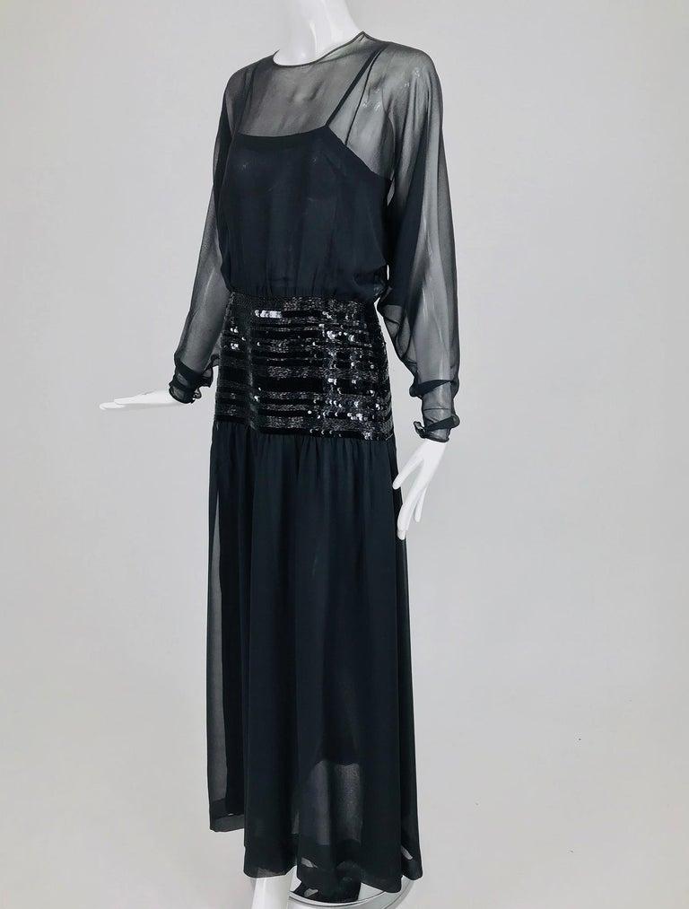 Chanel Black Silk Chiffon beaded Hip Dolman Sleeve Evening Gown 1980s For Sale 9