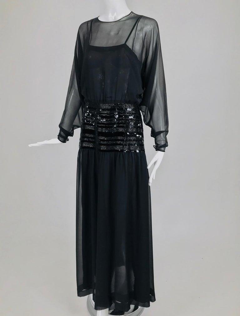 Chanel Black Silk Chiffon beaded Hip Dolman Sleeve Evening Gown 1980s For Sale 10
