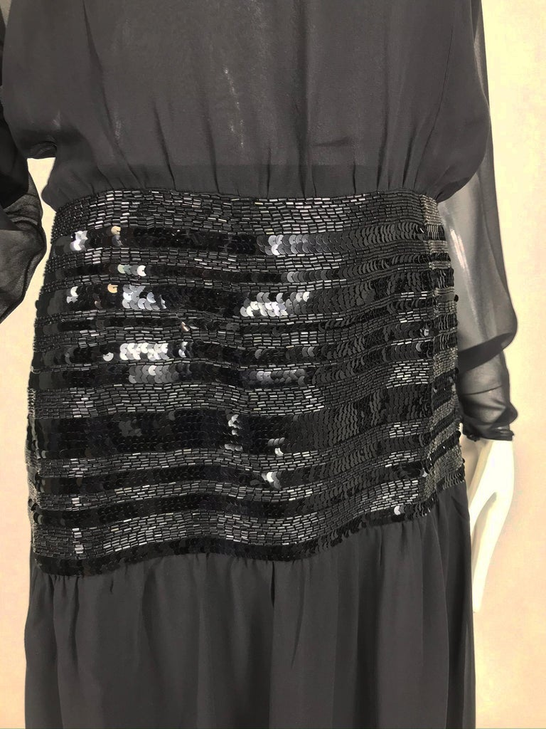 Chanel Black Silk Chiffon beaded Hip Dolman Sleeve Evening Gown 1980s For Sale 11
