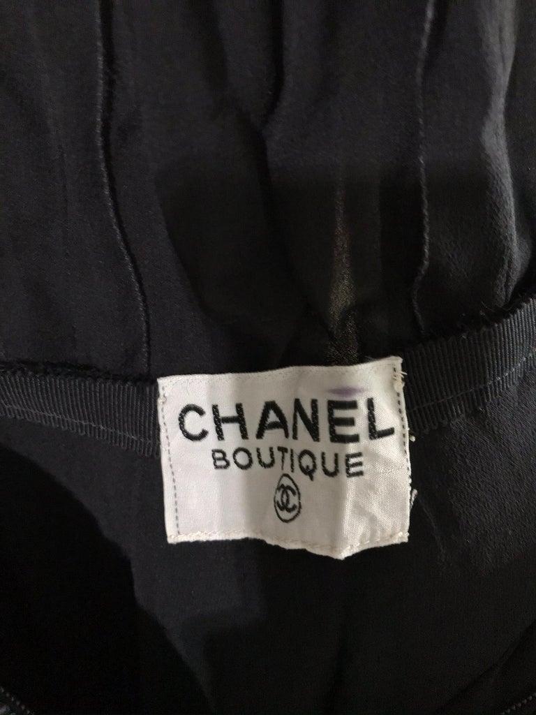 Chanel Black Silk Chiffon beaded Hip Dolman Sleeve Evening Gown 1980s For Sale 13