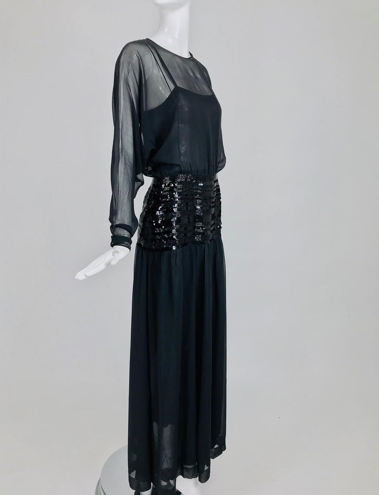 Chanel Black Silk Chiffon beaded Hip Dolman Sleeve Evening Gown 1980s In Excellent Condition For Sale In West Palm Beach, FL