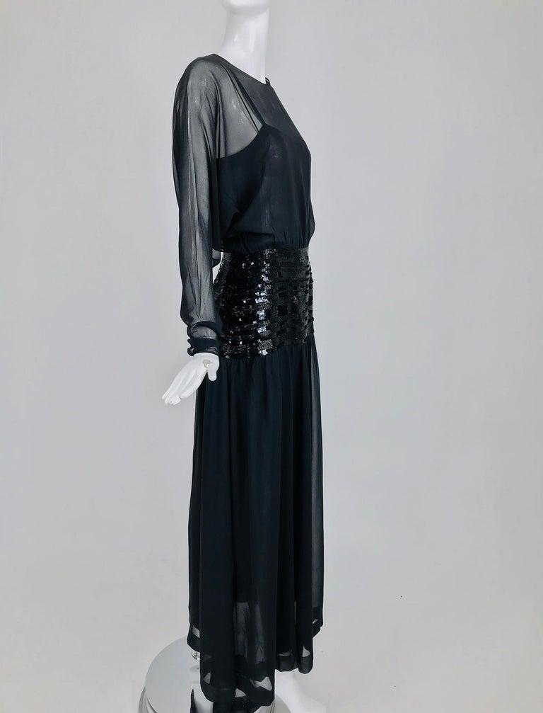 Women's Chanel Black Silk Chiffon beaded Hip Dolman Sleeve Evening Gown 1980s For Sale