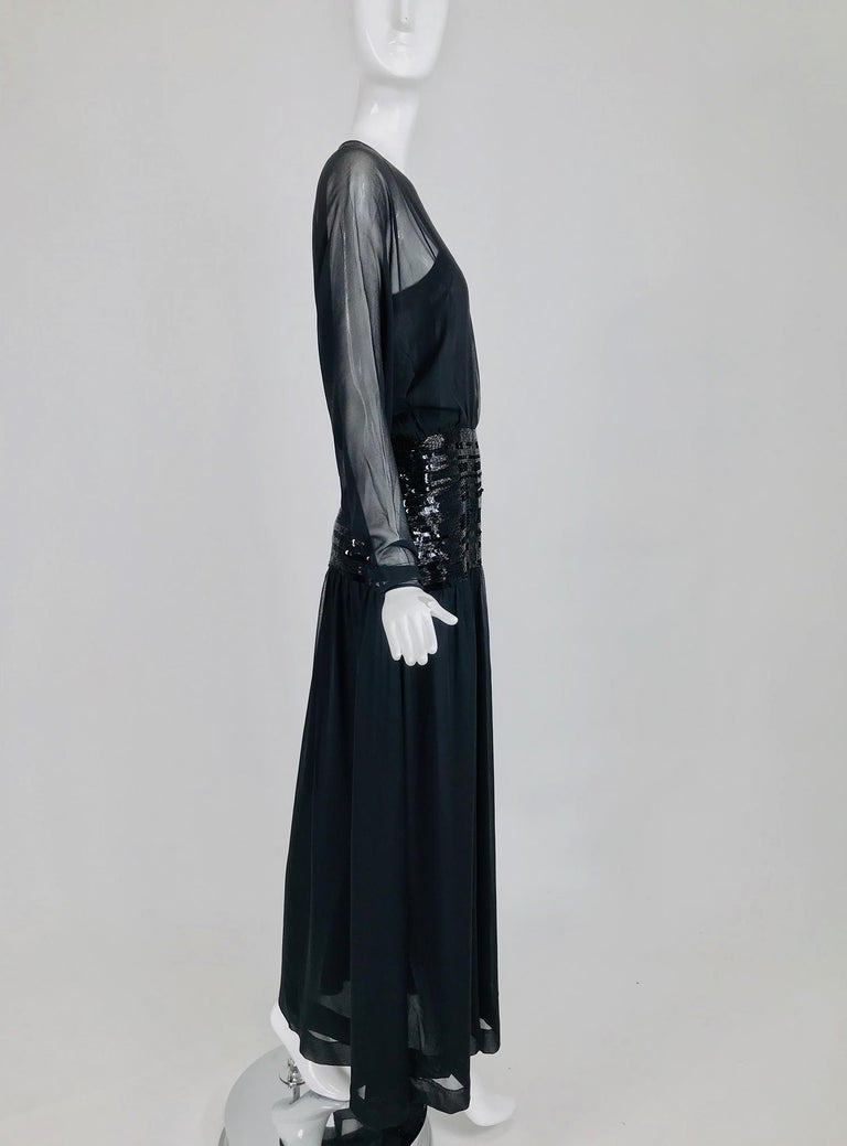 Chanel Black Silk Chiffon beaded Hip Dolman Sleeve Evening Gown 1980s For Sale 1