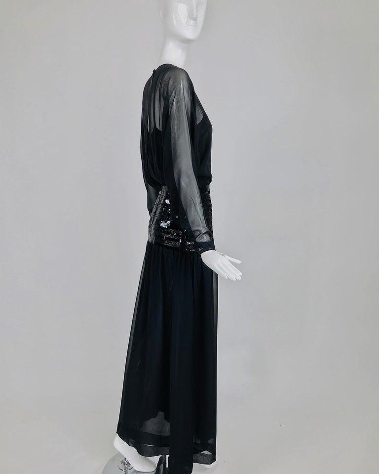 Chanel Black Silk Chiffon beaded Hip Dolman Sleeve Evening Gown 1980s For Sale 2