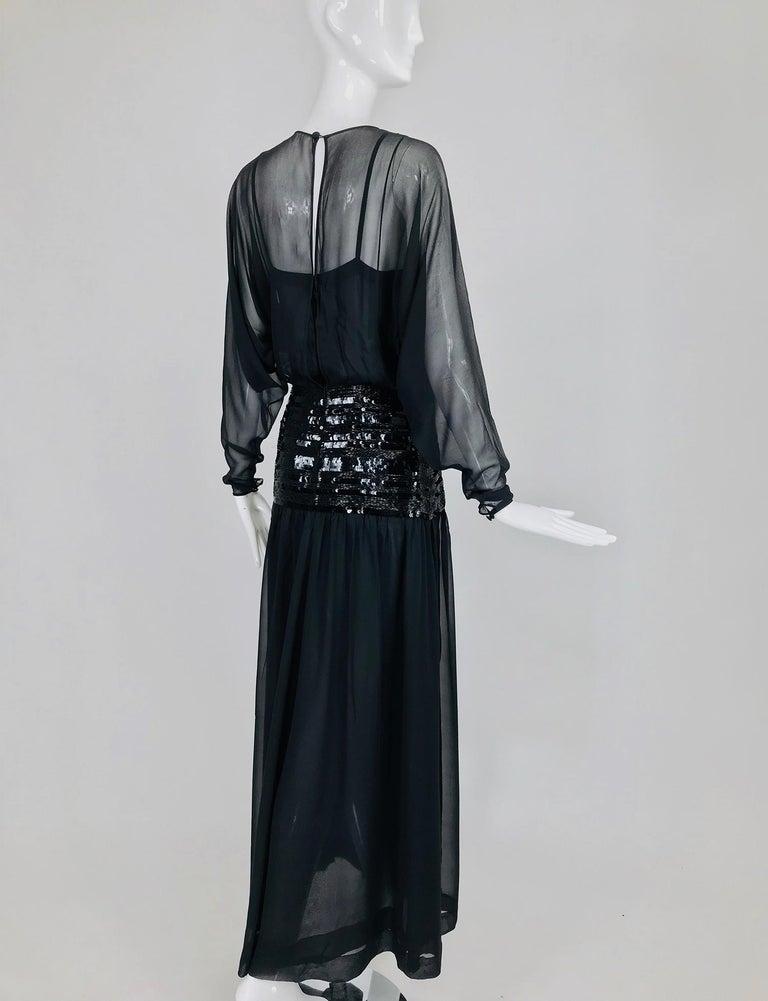 Chanel Black Silk Chiffon beaded Hip Dolman Sleeve Evening Gown 1980s For Sale 3