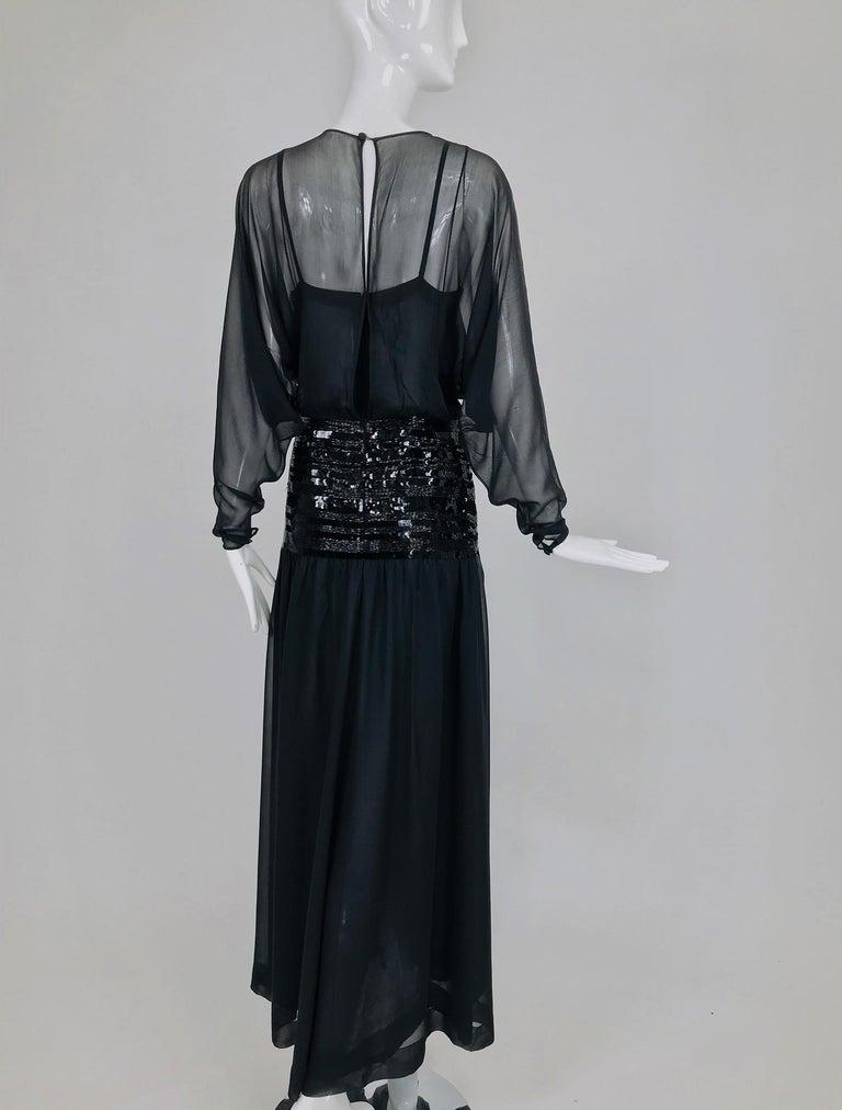 Chanel Black Silk Chiffon beaded Hip Dolman Sleeve Evening Gown 1980s For Sale 4
