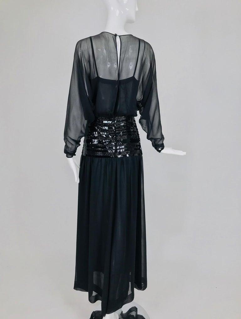 Chanel Black Silk Chiffon beaded Hip Dolman Sleeve Evening Gown 1980s For Sale 5