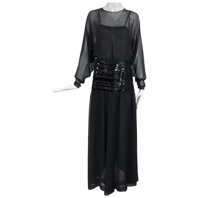 Chanel Black Silk Chiffon beaded Hip Dolman Sleeve Evening Gown 1980s For Sale