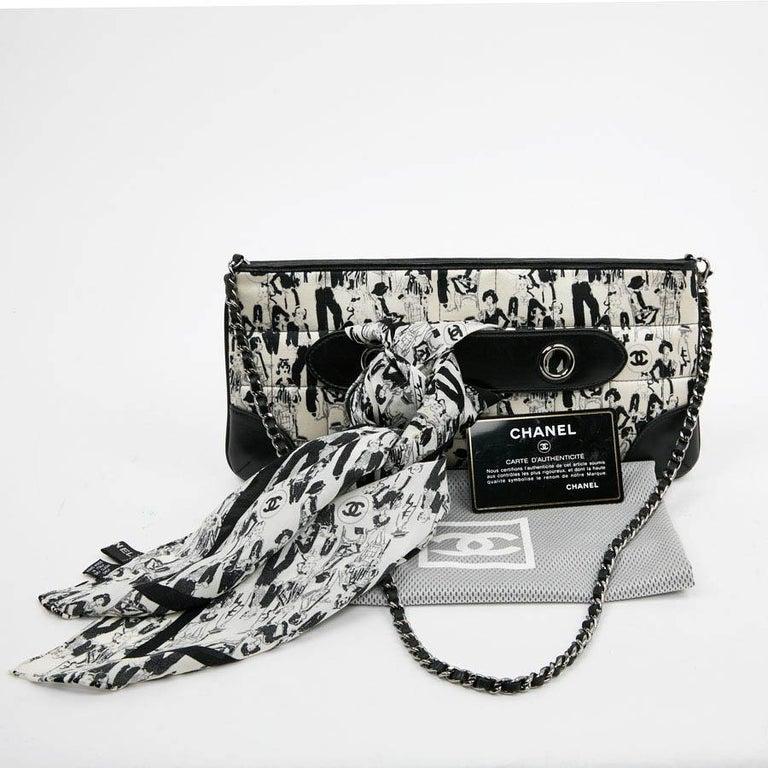 Women's CHANEL Black Silk Clutch Coco Chanel Bag  For Sale
