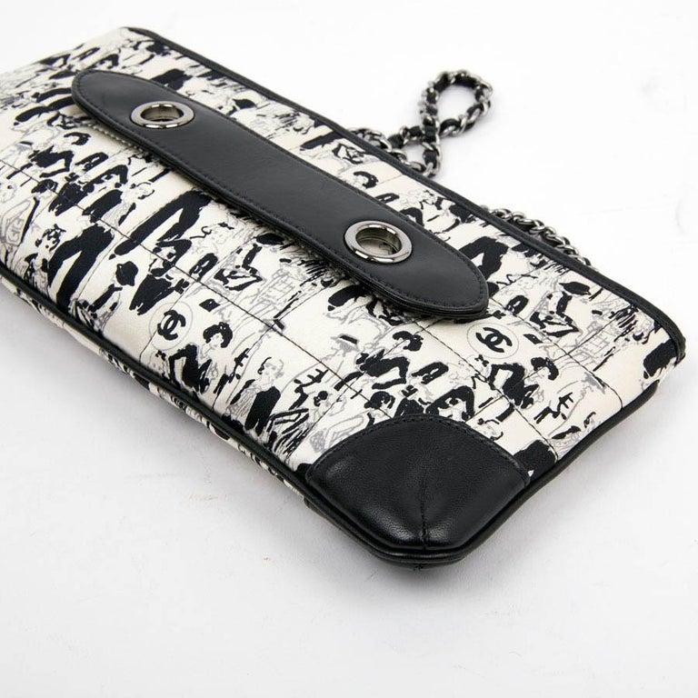 CHANEL Black Silk Clutch Coco Chanel Bag  For Sale 3