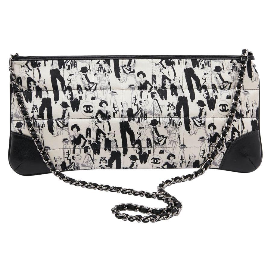 CHANEL Black Silk Clutch Coco Chanel Bag