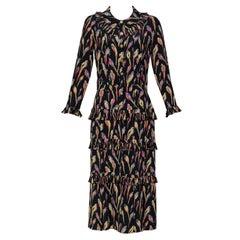 Chanel Black Silk Colorful Bird Print Gold Button Dress, 1980s