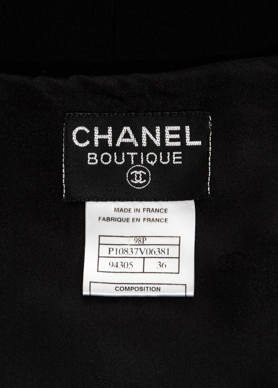 Chanel black silk column dress with crystal shoulder straps, ss 1998 For Sale 5