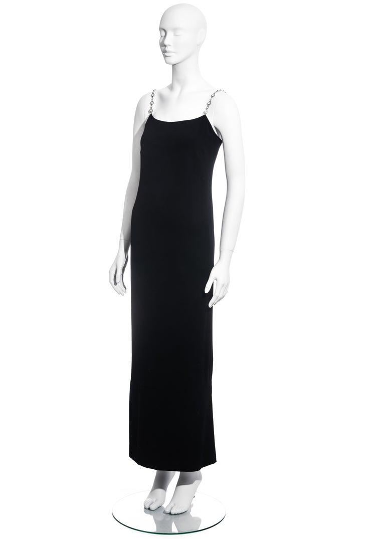 Women's Chanel black silk column dress with crystal shoulder straps, ss 1998 For Sale