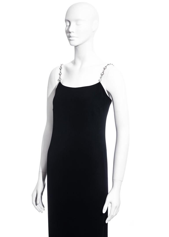 Chanel black silk column dress with crystal shoulder straps, ss 1998 For Sale 1