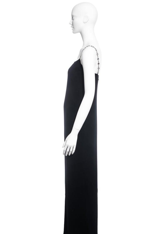 Chanel black silk column dress with crystal shoulder straps, ss 1998 For Sale 2