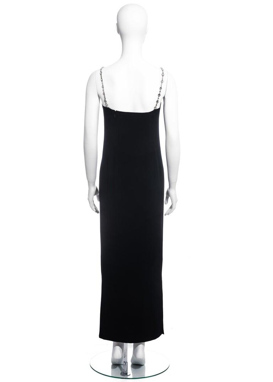 Chanel black silk column dress with crystal shoulder straps, ss 1998 For Sale 3