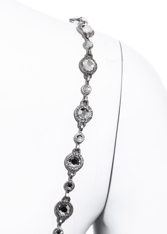 Chanel black silk column dress with crystal shoulder straps, ss 1998 For Sale 4