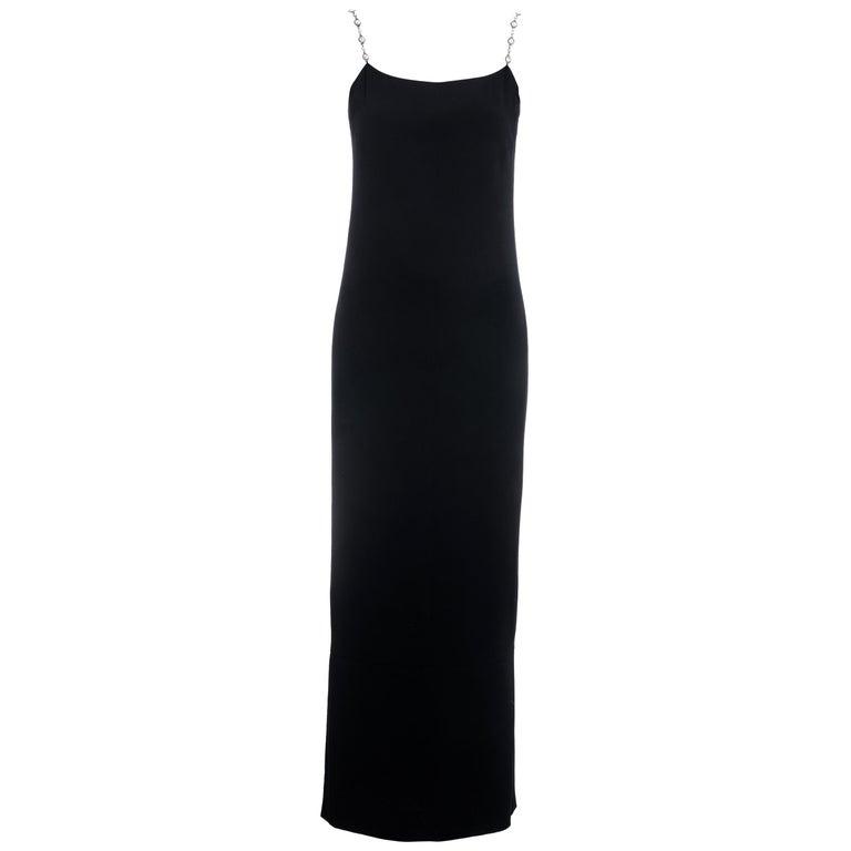 Chanel black silk column dress with crystal shoulder straps, ss 1998 For Sale