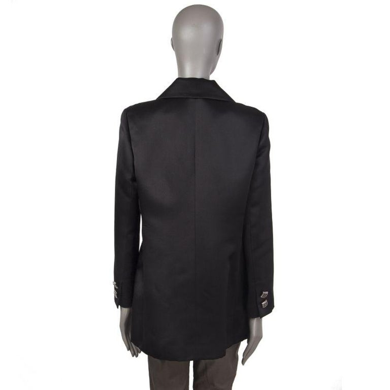 Black CHANEL black silk Double-Breasted  Blazer Jacket 48 XXXL For Sale
