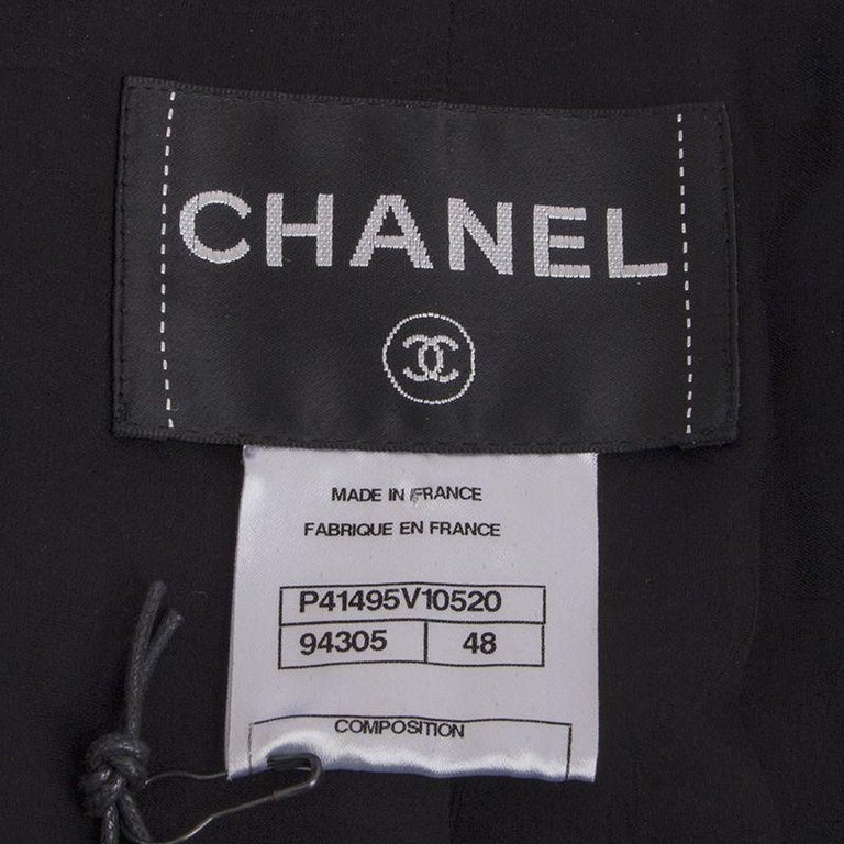 Women's CHANEL black silk Double-Breasted  Blazer Jacket 48 XXXL For Sale