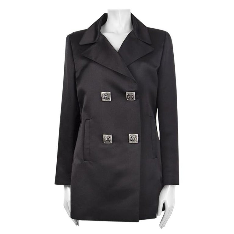 CHANEL black silk Double-Breasted  Blazer Jacket 48 XXXL For Sale