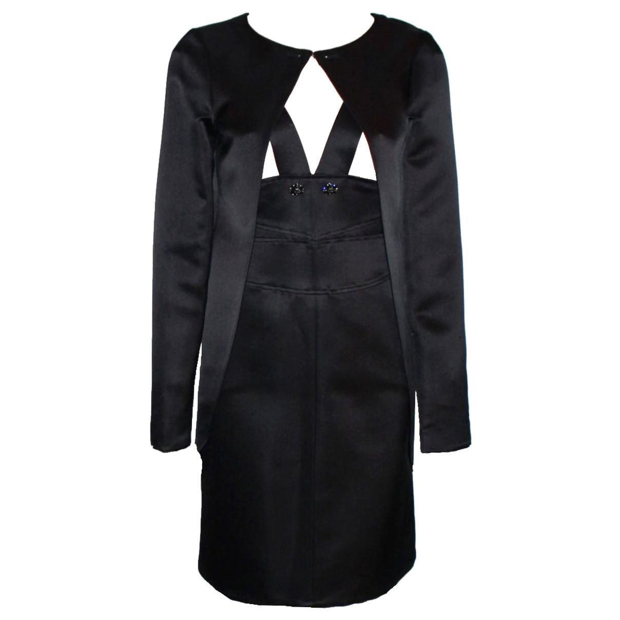 NEW Chanel Black Silk Dress Jewelled Buttons & Jacket Coat Suit Ensemble Outfit
