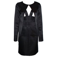 Chanel Black Silk Dress Jewelled Buttons & Jacket Coat Suit Ensemble Outfit