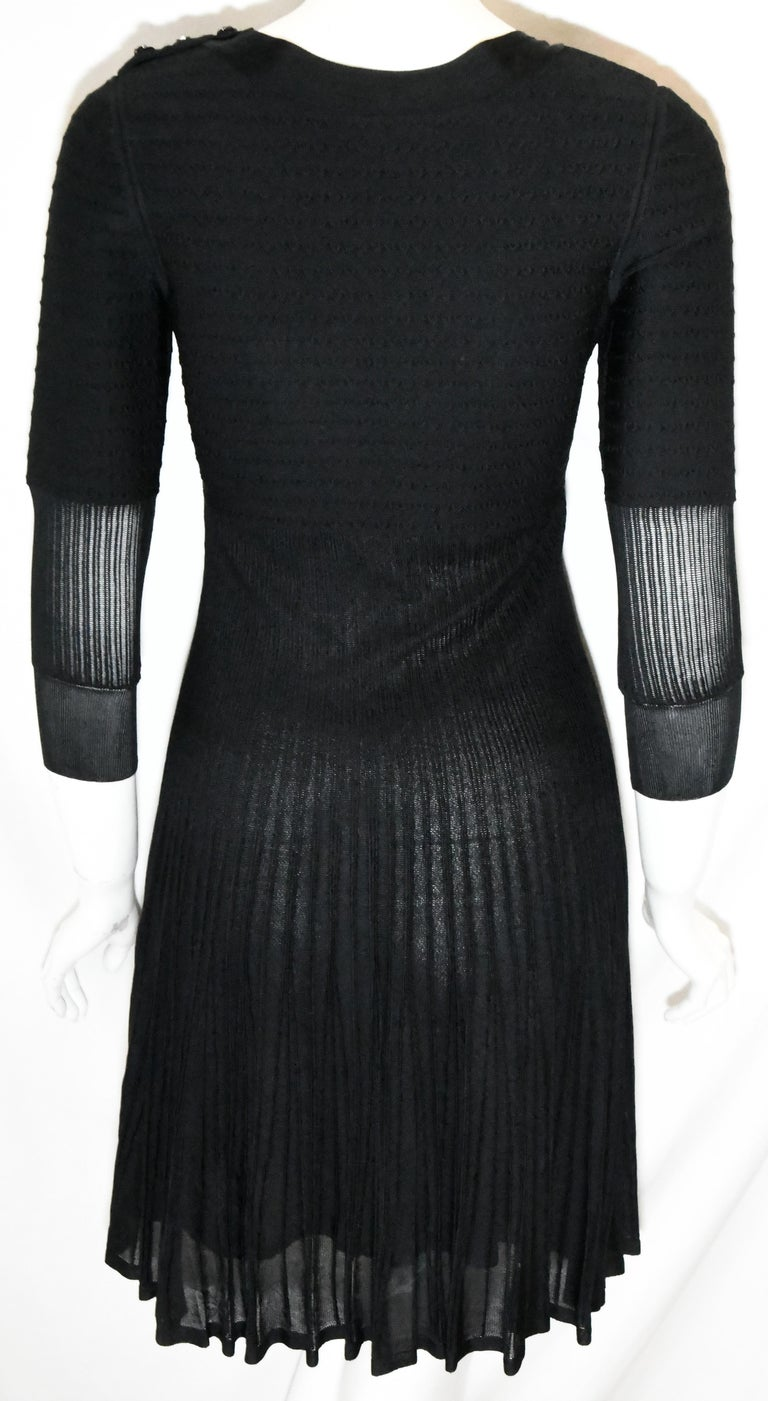 Chanel Black Silk Long Sleeve From the 2009 Cruise Collection Dress In Excellent Condition For Sale In Palm Beach, FL