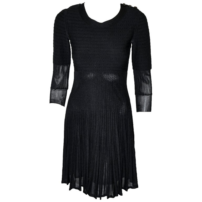 Chanel Black Silk Long Sleeve From the 2009 Cruise Collection Dress For Sale