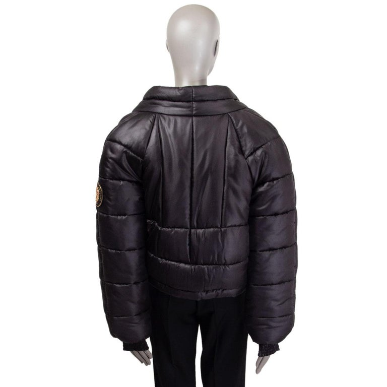 CHANEL black silk PARIS MOSCOW Puffer Down Jacket 46 XXL In Excellent Condition For Sale In Zürich, CH