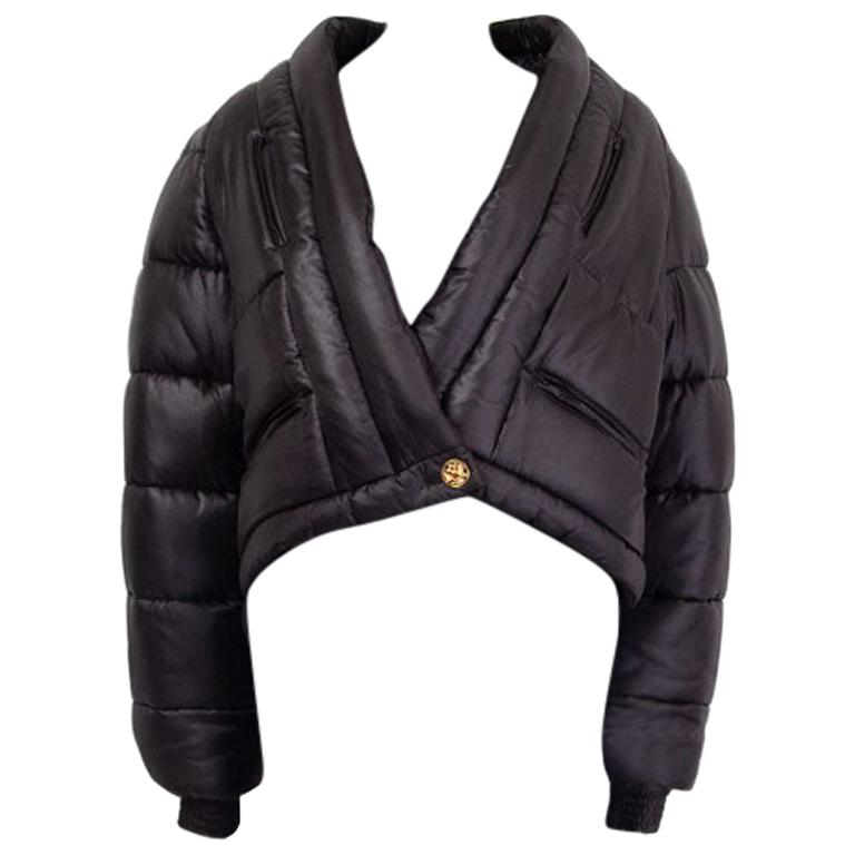CHANEL black silk PARIS MOSCOW Puffer Down Jacket 46 XXL For Sale