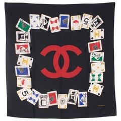 Chanel Black Silk Playing Card Scarf