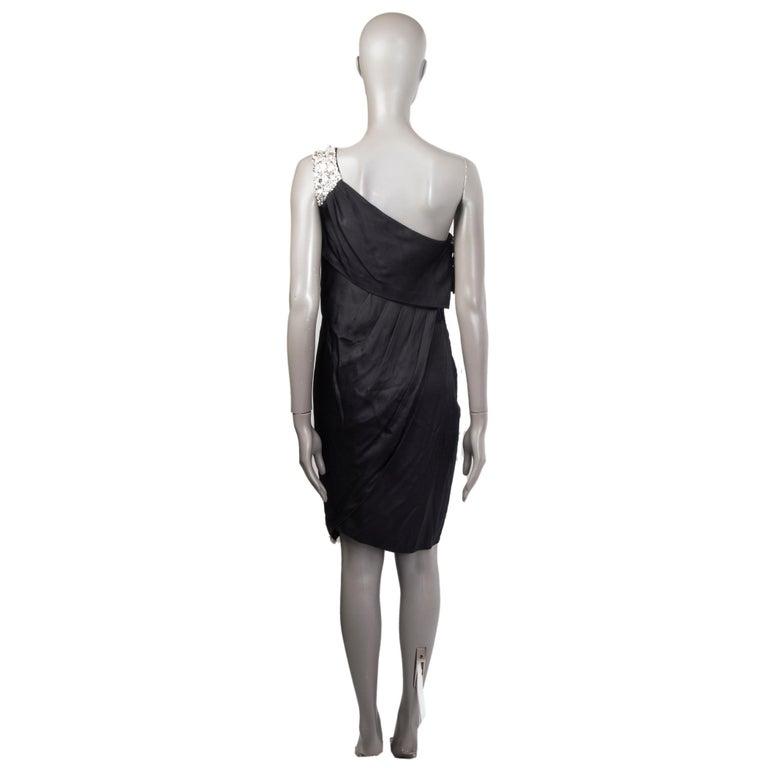 Black CHANEL black silk SATIN EMBELLISHED ONE SHOULDER Cocktail Dress 38 For Sale