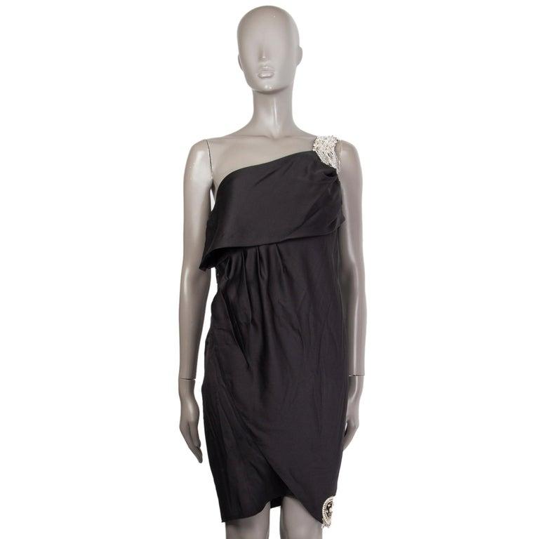 CHANEL black silk SATIN EMBELLISHED ONE SHOULDER Cocktail Dress 38 In Excellent Condition For Sale In Zürich, CH