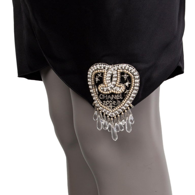CHANEL black silk SATIN EMBELLISHED ONE SHOULDER Cocktail Dress 38 For Sale 1