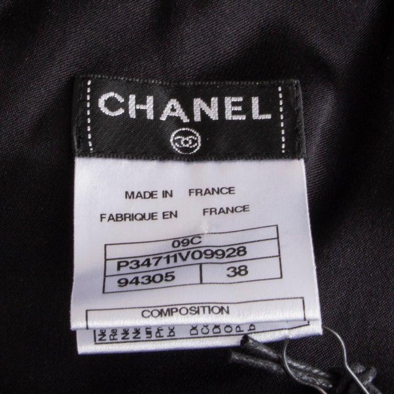 CHANEL black silk SATIN EMBELLISHED ONE SHOULDER Cocktail Dress 38 For Sale 2