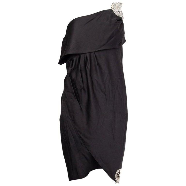 CHANEL black silk SATIN EMBELLISHED ONE SHOULDER Cocktail Dress 38 For Sale