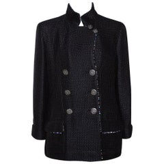 Chanel Black Silk Sequin Embellished Double Breasted Jacket L