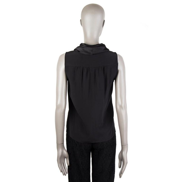 Black CHANEL black silk SHAWL COLLAR Sleeveless Blouse Shirt 38 S For Sale