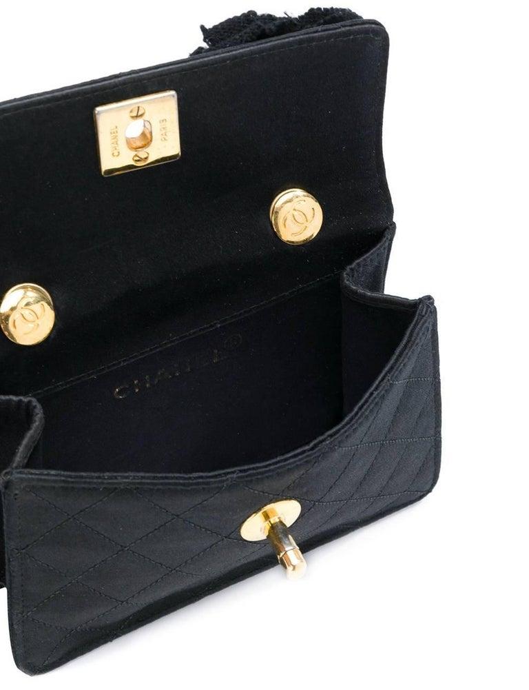 Women's Chanel Black Silk Vintage Bag, 1990s For Sale