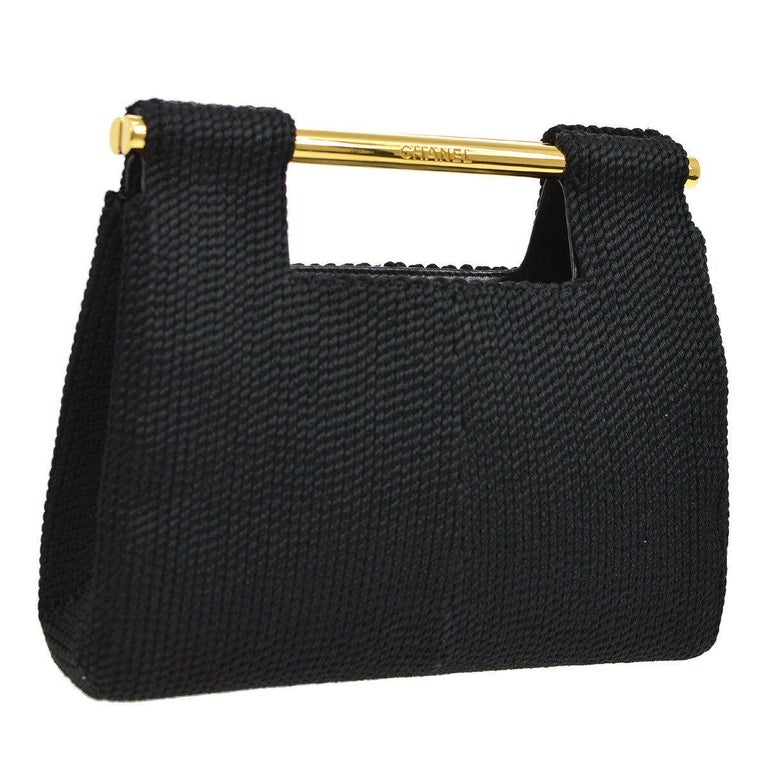 Chanel Black Silk Woven Braided Gold Bar Top Handle Satchel Clutch Bag in Box In Good Condition For Sale In Chicago, IL