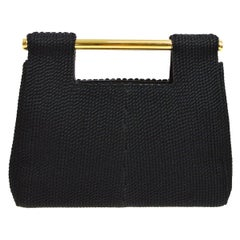 Chanel Black Silk Woven Braided Gold Bar Top Handle Satchel Clutch Bag in Box